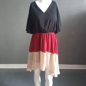 Flowy Colourblock Mini Dress